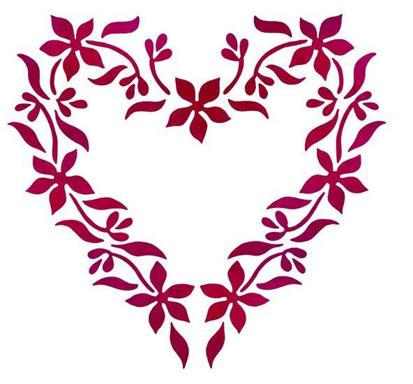Flsp2147 pochoir coeur en fleurs style pochoir