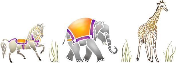 Fr1224 frise cheval elephant girafe en pochoir animaux cirque