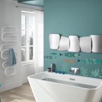 Fr7035 pochoir frise poissons originale moderne geometrique a peindre peinture salle de bain