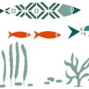 Fr7035 pochoir frise poissons originale moderne geometrique a peindre peinture style pochoir