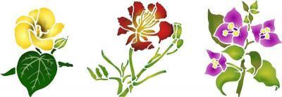Fri5002 frise fleurs des iles pochoir a peindre