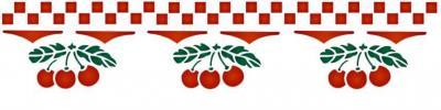 Fris3205 frise cerises carres vichy pochoir cuisine