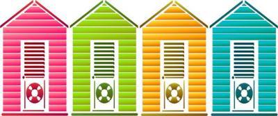 Frise 4 cabanes de plage en pochoir ma20056 style pochoir mon artisane small