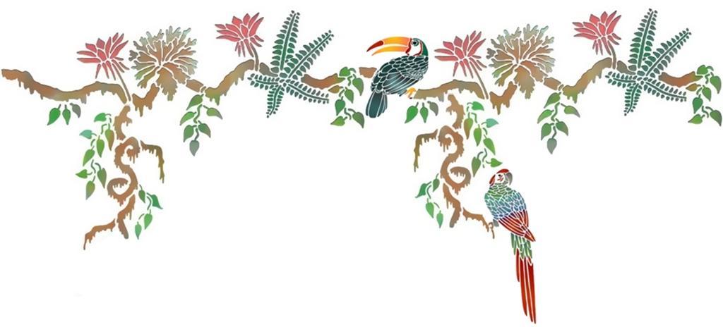 Frise liane oiseaux exotiques toucan perroquet pochoirs promotion