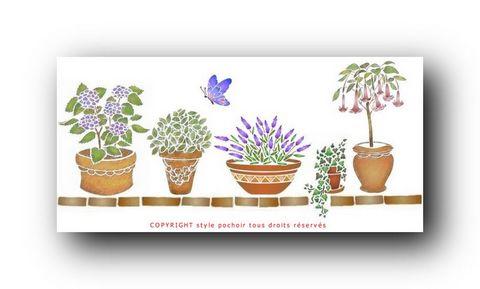 Frise plantes en pot et papillon spfr060 en pochoir