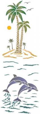 Grands palmiers et dauphins pochoir mon artisane style pochoir ma1023