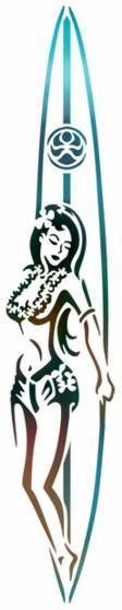Hawaienne sur planche de surf pochoir a peindre style pochoir