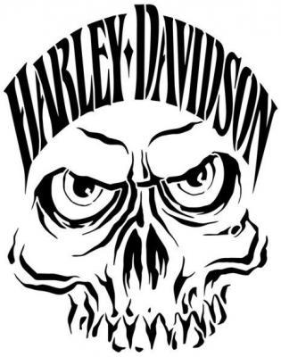 Hd18 harley davidson crane pochoir skull stencil