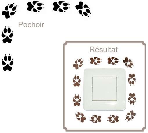 Interrupteur trace de chien pochoir style pochoir