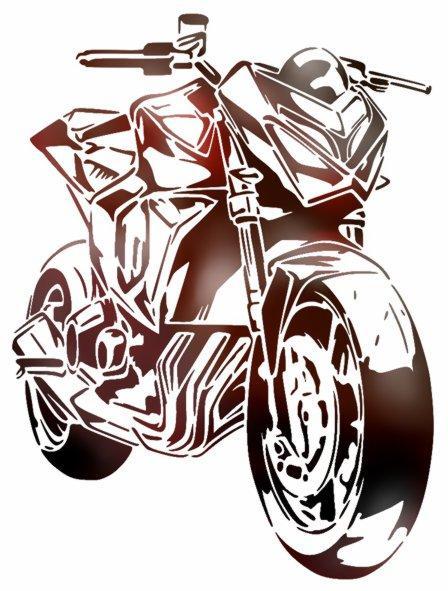 Kawasaki z800 moto pochoir couleur