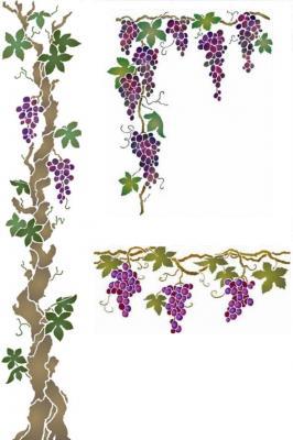 Kit pochoirs vigne raisin en promo style pochoir