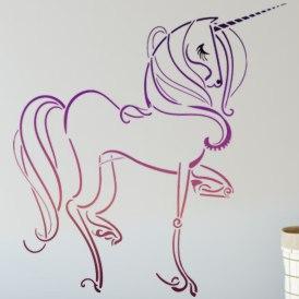 Mur chambre fille pochoir licorne peint gp