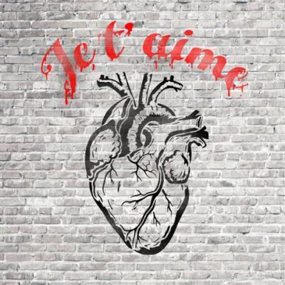 Mur de briques carre coeur je taime street art small
