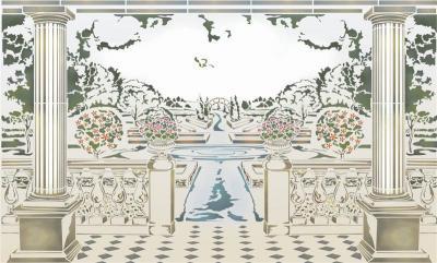 Mur1009 pochoir paysage jardin anglais pochoir mural fresque murale a peindre style pochoir medium
