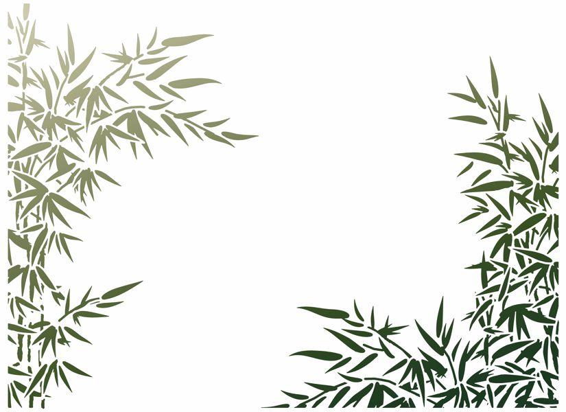 Mur2004 mur bambous 4 angles pochoir mural style pochoir