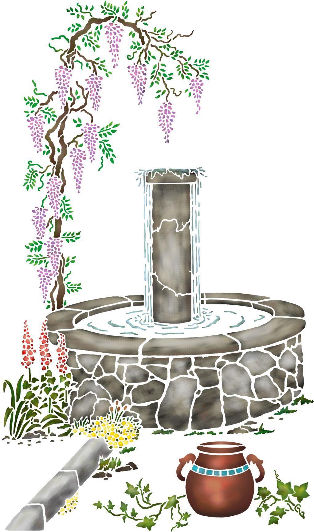 Mur5006 glycine fontaine sticker