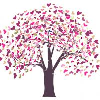 Mur6002 pochoir geant mural arbre coeurs