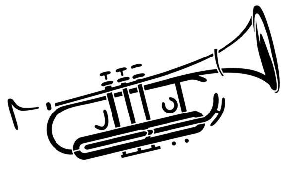 Mus236 trompette pochoir a peindre style pochoir trumpet stencil