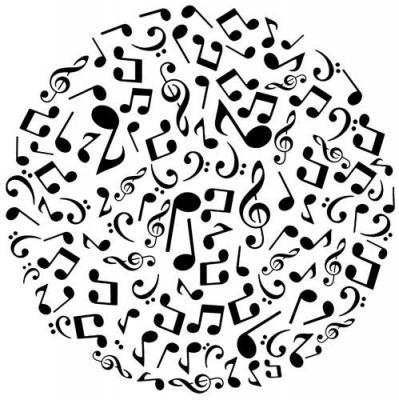 Mus2999 rond notes de musique style pochoir