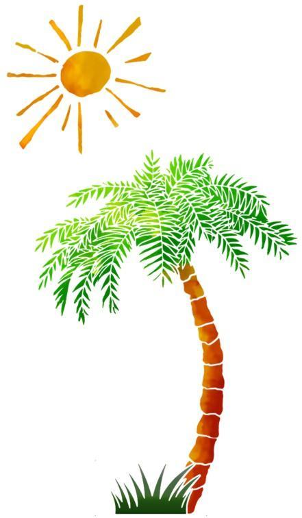Palmier au soleil pochoir a peindre style pochoir mur5896