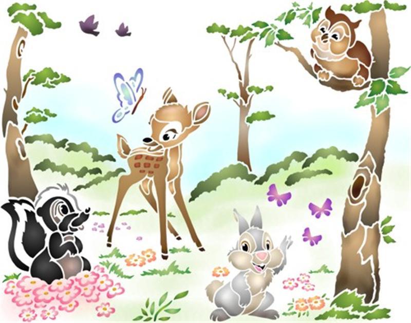 Paysage bambi panpan pochoir enfant style pochoir
