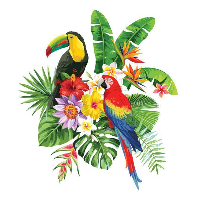 Paysage vegetal exotique toucan perroquet sticker stylepochoir