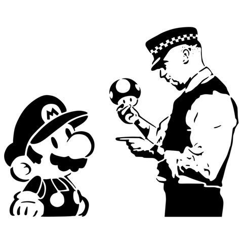 Per68701 mario champignon policier streert art pochoir mon artisane