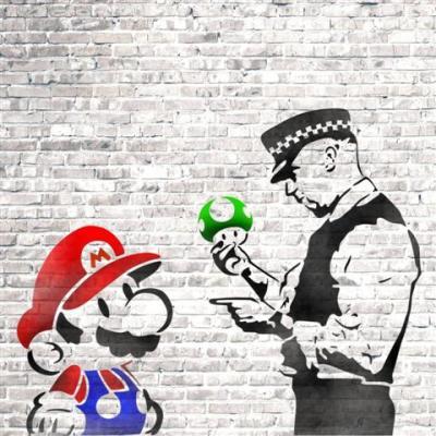 Per68701 pochoir mario policier strret art mon artisane small