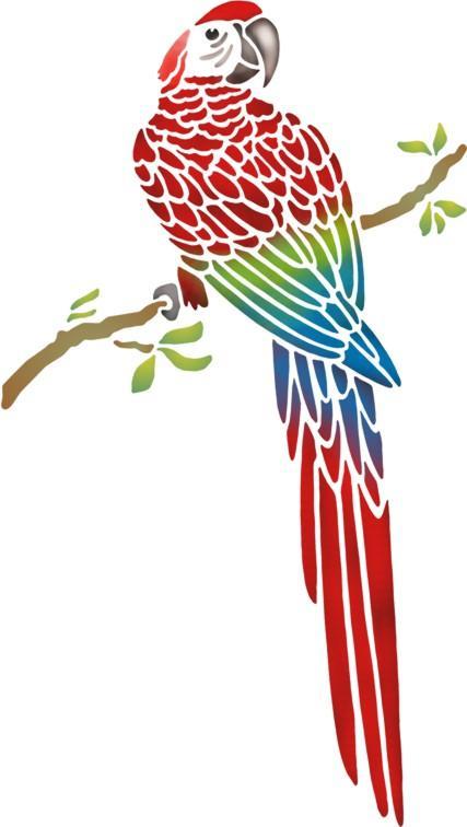 Perroquet sur branche pochoir a peindre stylepochoir mon artisane