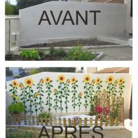 Photo mur peint pochoir tournesols