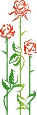 Pochoir 3 tiges de roses design fl12009