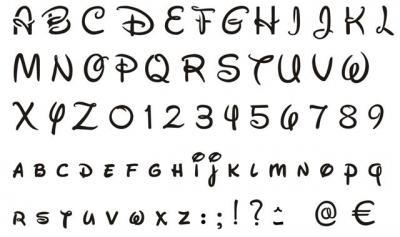 Pochoir alphabet walt disney