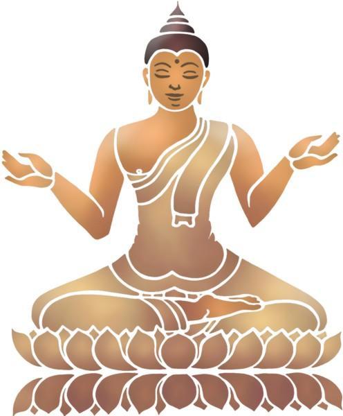 Pochoir bouddha assis a peindre chin17a