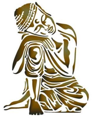 Pochoir bouddha endormi a peindre style pochoir