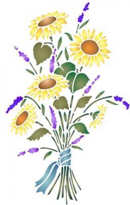 Pochoir bouquet tournesols lavande