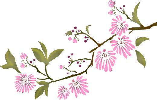 Pochoir branche de fleurs roses style pochoir mon artisane