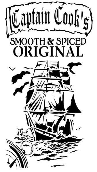 Pochoir captain cooks rhum rum stencil