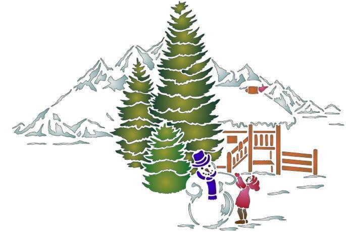Pochoir de noel bonhomme de neige style pochoir