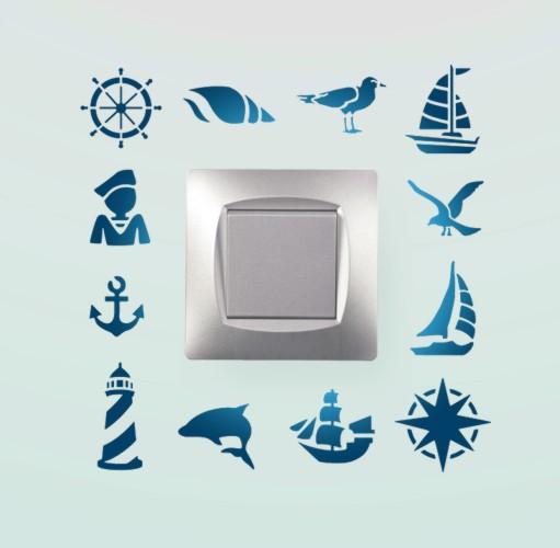 Pochoir interrupteur marin mouette phare ancre bateau petit angle cadre