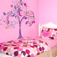 Pochoir mural arbre original mur chambre fille style pochoir