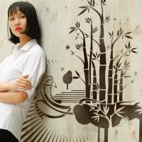 Pochoir mural bambous fresque sur mur exterieur style pochoir medium