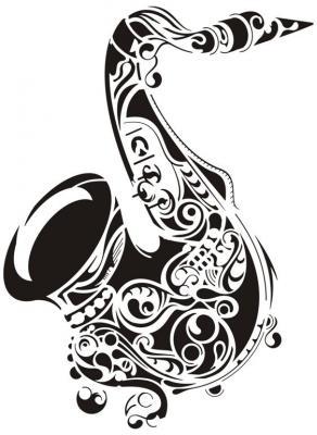 Pochoir mural de saxophone design ref mus1003 div17001style pochoir