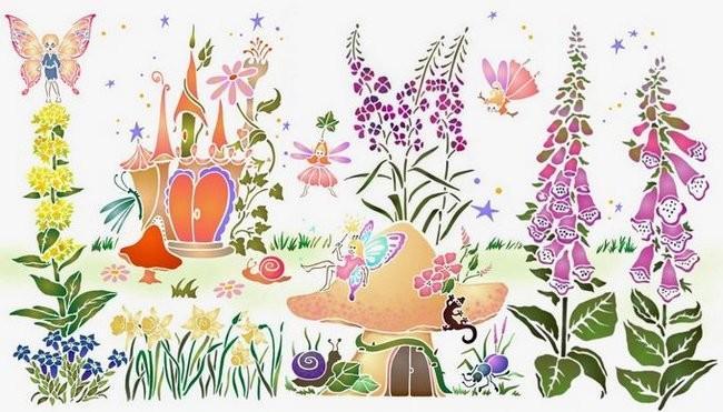 Pochoir mural fees champignon chambre fille spmu064 style pochoir mon artisane