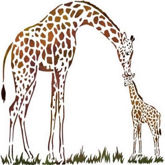 Pochoir mural girafes bisous spmu092 style pochoir mon artisane