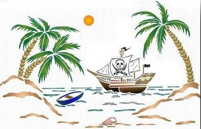 Pochoir paysage bateau pirate palmiers spmu026