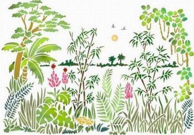 Pochoir paysage vegetation spmu034