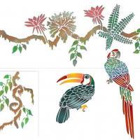 Pochoir perroquet toucan lianes exotique jungle