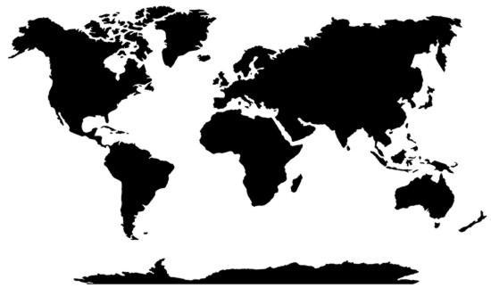 Pochoir planisphere simplifie
