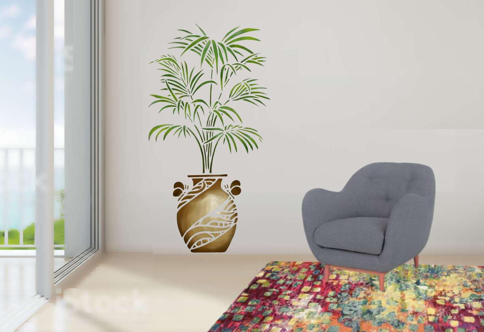 Pochoir plante de palmier en pot sur mur interieur 1