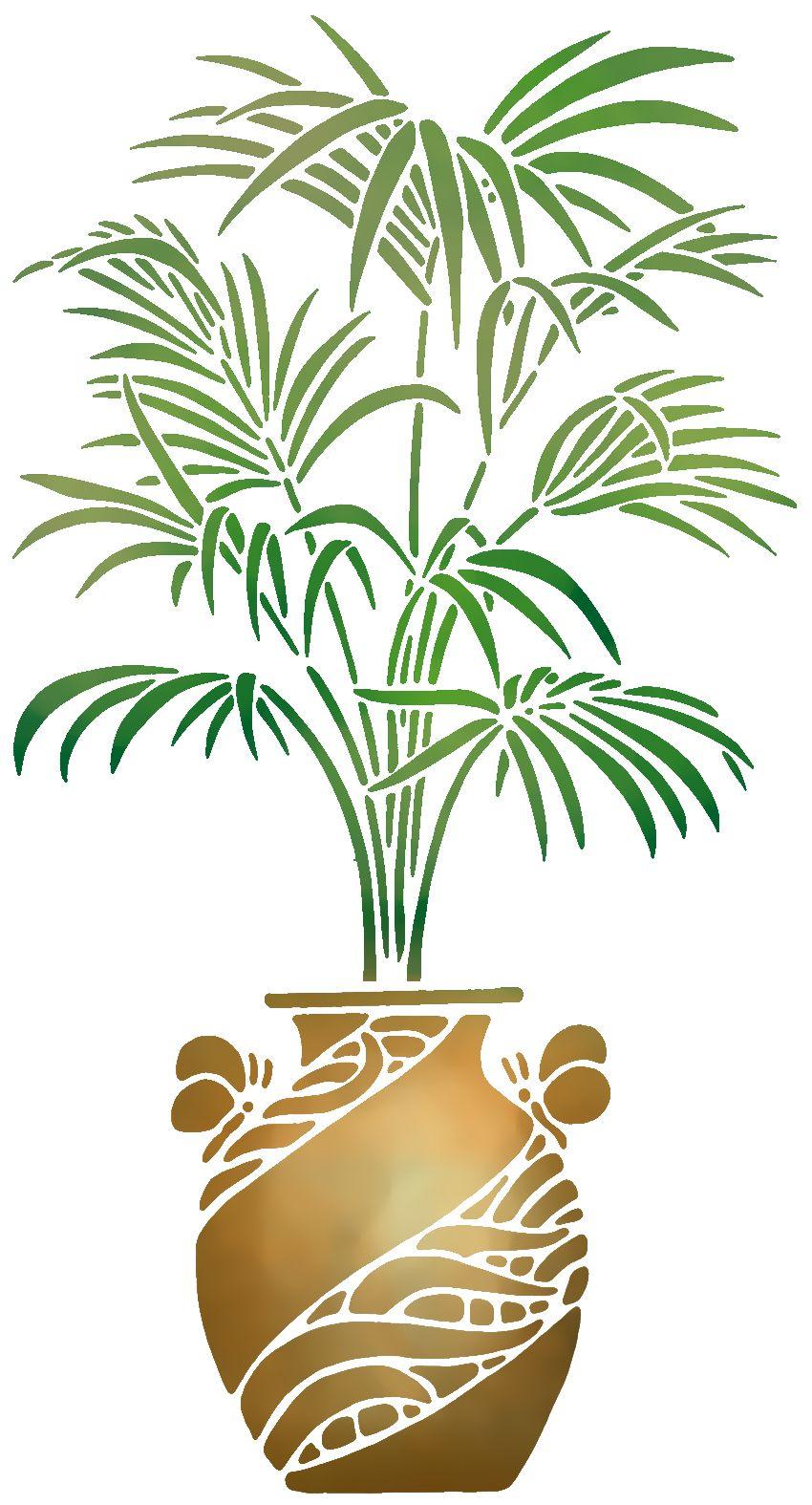 Pochoir plante palmier en pot style pochoir